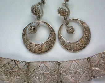 Delicate Silver Lace Filigree Bracelet & Earrings - 3493