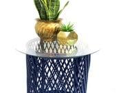 Bohemian Chic Vintage Woven Rattan Drum Table | Navy Geometric-Diamond Pattern Base | Custom Color | Circular Glass Table Top