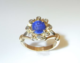 Victorian Sapphire Engagement Ring Antique Diamond Engagement Ring Antique Sapphire Ring One of a Kind Ring Unique Diamond Ring