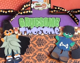 Gruesome Twosome 2 Page 3D Paper Pieced 12x12 Halloween Premade Scrapbook Pages