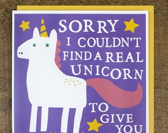unicorn card  etsy, Birthday card