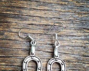 Antique Silver Lucky Horseshoe Dangle Earrings
