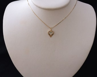 Heart Stone 14K Solid Gold Necklace