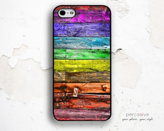 iPhone 6 Case Colorful Wood - iPhone 5 Case, iPhone 6 Plus Case, iPhone 5C Case Wooden Print, Distressed Wood iPhone 6 Case :0672