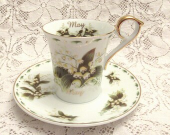 May Birthday Tea Cup - Lilly of the Valley Flower Tea Cup - Excellent Condition