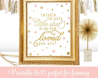 Twinkle Twinkle Little Star Baby Shower Decorations, Blush Pink Gold Glitter Printable Baby Girl Nursery Wall Art, Star Birthday Decor Sign