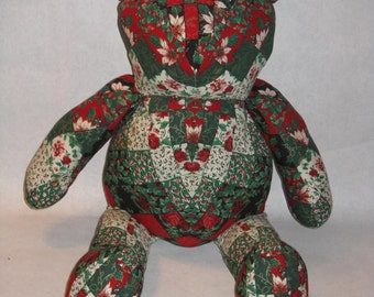 Vintage hand made stuffed bear Christmas holiday red white green