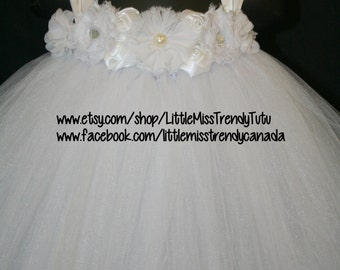 White Tutu Dress, Tutu Dress, Flower Girl Tutu Dress, Flower Girl, White Flower Girl Tutu Dress with flowers, Girls Tutu Dress, Tutu