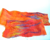 Orange/ Red Orange Wet Felted Superfine Merino Wool Scarf Handmade. Contains dyed red silk fibers and reclaimed blue and gold silk fibers.
