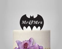 Mr and Mrs  Wedding Cake topper with batman silhouette, disney cake topper,  funny cake topper,  unique topper,