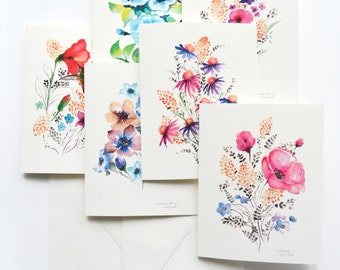 "Watercolour Florals 5""x7"" folded blank cards, Senay Studio original watercolour designs, beautiful greeting cards for any occasion"
