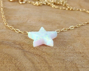 Star Necklace, Opal Star Necklace, White Opal Star Necklace, Gold Opal Jewellery, Opal Jewellery.