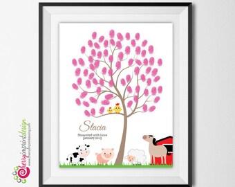Personalized Farm Animal Baby Shower - Birthday Guest Book - Tree Fingerprint - Cow - Sheep - Pig - Horse - DIY Printable
