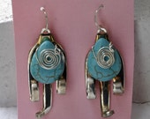 Shrimp Fork Earrings with Turquoise Cabachons