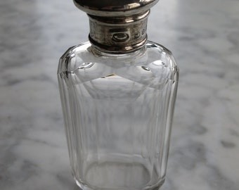 Vintage Silver Cap Cut Glass Scent Bottle - hall marked  - Made in England