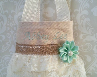 Mint and Ivory Lace Flower Girl Purse, Flower Girl Gift, Birthday Gift, Communion Gift