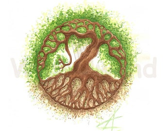 Print of an water colour painting - Tree of Life... and a Harp! (8 x 12 inch), original colours