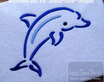 Dolphin Satin Stitch Outline Embroidery Design - dolphin Embroidery Design - beach Embroidery Design - summer Embroidery Design