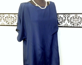 1980's Midnight Blue Pin Up Blouse by Liquid Silk, Size 16 XL,  Vintage 80's does 50's Hipster Blouse, Rockabilly Rosie the Riveter