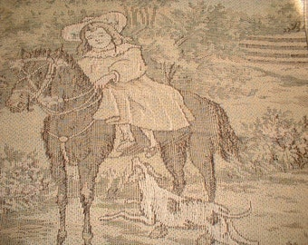 Antique Tapestry Girl Pony Horse Dog Hound Terrier ExC