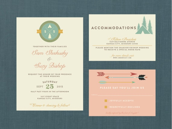 Camping Wedding Invitations: Whimsical Camp Wedding Invitation // DIY Printable Invite