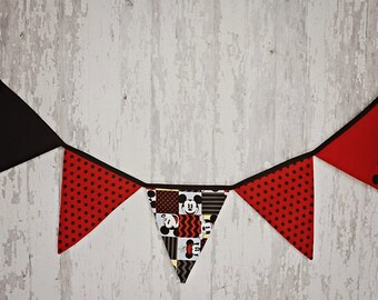 MICKEY MOUSE Banner/ Mickey Mouse/Red, Black and Yellow/ Birthday Prop/Nursery Prop/Made to Order
