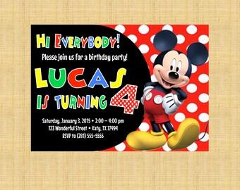PRINTABLE Custom Invitation - Red and White Polka Dot Mickey Mouse Multi Color Text Birthday Invitation