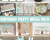 Winter Woodland Birthday Party Mega Pack // Boy or Girl // Mint Decorations // Fox // Printable Digital BP04