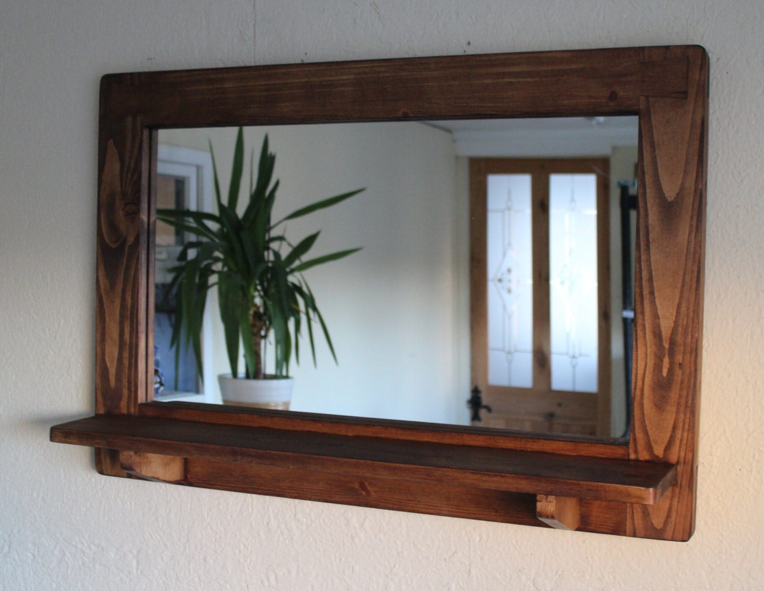 Mirror with inbuilt shelf wood natural eco friendly dark for Miroir antique en bois