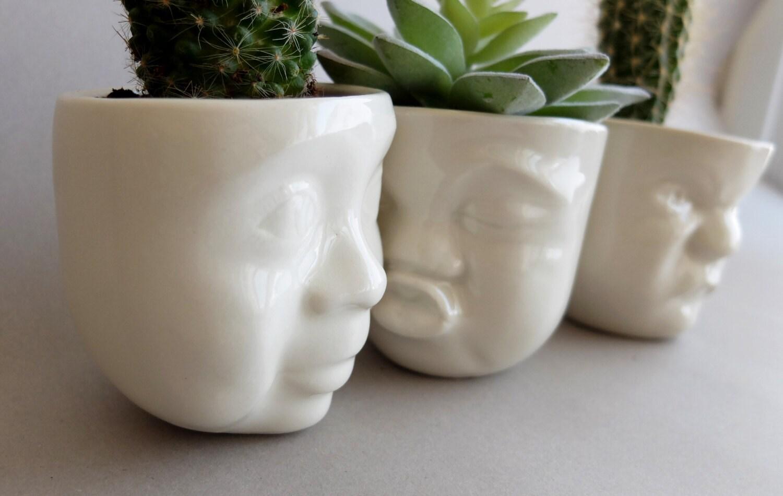 White Ceramic Succulent Planter Set Of 3 By Sculptureindesign