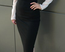 Black Pencil Skirt High Waisted Leather  Skirt, Under Knee Tight  Skirt, Fashion Skirt / Casual Skirt / EXPRESS SHIPPING / MD 10020