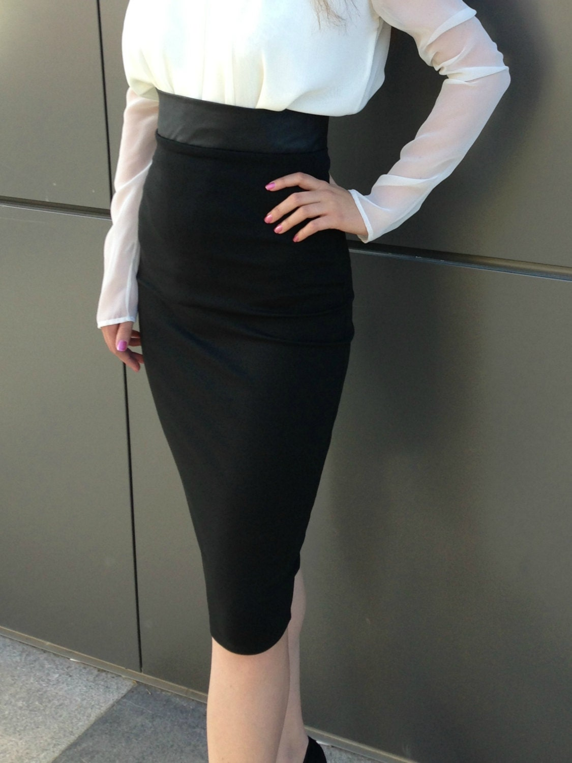 Black Pencil Skirt High Waisted Leather Skirt Under Knee
