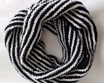 Black and White  Circle Scarf - Parisian/Hipster Infinity Scarf