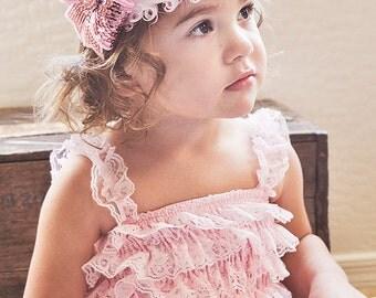 Light Pink Lace Petti Romper-Lace Baby Romper-Ruffle Romper-Lace Romper-Petti Romper-Baby Outfit-Shabby Chic Petti Romper-Romper