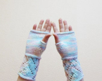 Pastel Knit Fingerless Gloves Mittens lace gloves arm warmers winter fashion gloves stocking stuffer
