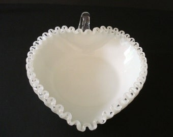 Fenton Silver Crest Heart Relish - Clear Ruffled Trim on White Glass Vintage Candy Dish