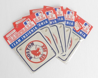 Vintage 80s Boston Red Sox Signs with Suction Cup, Official Licensed Product, Boston Sports Memorabilia Red Sox Gift, Sold Individually