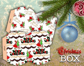 CHRISTMAS LADY - 2 Printable Pillow Boxes - Digital Image Sheet Download Box - Print and Cut