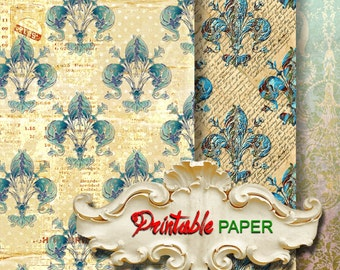 BLUE  LILY  - 2 SHEETs Printable wrapping paper for Scrapbooking, Creat - Download and Print