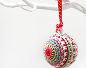 Crochet bauble decoration. Beautiful contemporary crochet Christmas tree ball decoration - special handcrafted stocking filler with gift box