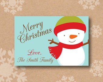 Christmas Gift Stickers Holiday Favor Labels Rectangle Christmas Snowman Sticker Label Personalized Holiday Favor Stickers