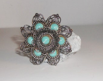 Turquoise Brooch Flower Pin Back Turquoise Color Howlite Pinback Brooch Free Shipping