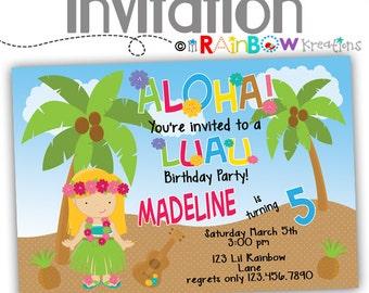 057: DIY - Luau Party Invitation Or Thank You Card