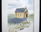 Mini painting country church watercolor original art - 5x7 matted - country church - religious art - small painting - gift painting -
