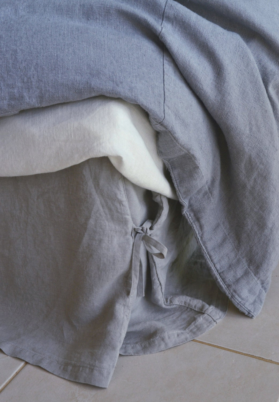 Grey Linen Bed Skirt : Light grey linen box pleated bedskirt with ties dust ruffle