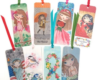 Bookmark Package. Watercolor bookmarks. Whimsical art bookmark. Cute art bookmarks. Big eye girl bookmark. Book lover gift. Gift for her.