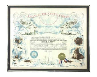 Vintage Arctic Circle Crossing US Navy 'Blue Nose' Framed Certificate circa 1975, Navy USN Militaria