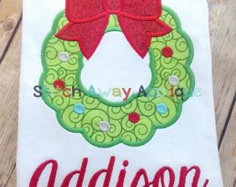 Christmas Wreath Machine Applique Design