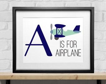 A is For Airplane,  Future Pilot Print, Nursery Art, Aviation Nursery, Little Pilot, Children's Room Art