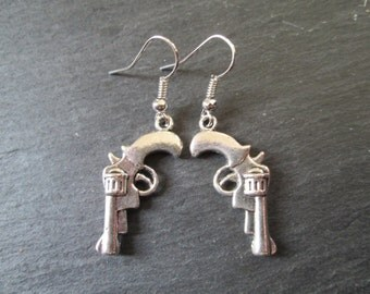 Petite Silver Revolver Charm Earrings